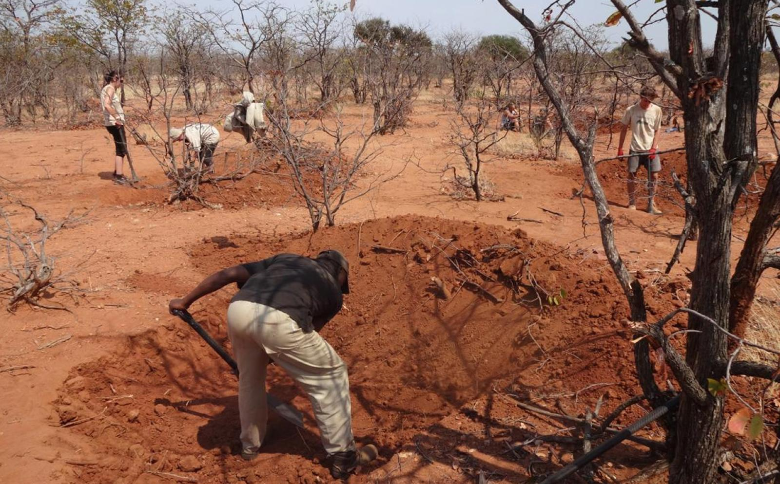 Volunteers are digging to build a waterhole for the wild animals in the Wild at Tuli nature reserve in Botswana